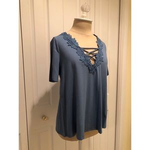 Blue Topshop Embroidered Lace-up Top